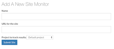 Screenshot of the Add Site Monitor Page