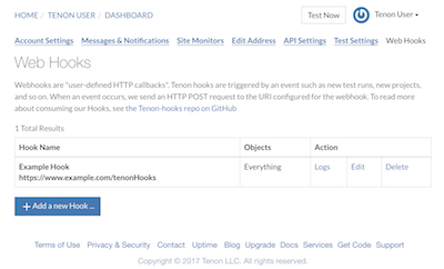 Screenshot of the landing page for web hooks, with the newly registered hook